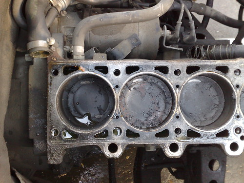 Marks from the valves hitting the pistons