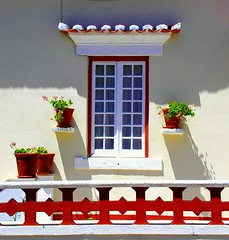 The 4 pots (Sandra_R) Tags: light red summer plants white house green portugal window colors outdoors four photography afternoon exterior bright balcony details 4 sintra clarity nobody pots simplicity vase typical colares praiadasmas blueribbonwinner mywinners abigfave