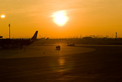 Sunset over Newark airport