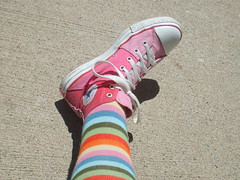 Chucks (Polka Dot Princess) Tags: pink socks high converse taylor chuck knee tops allstar chucks stripy