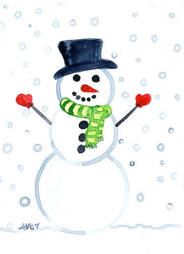 Snowman Original painted Christmas Card by Jellybeans1.