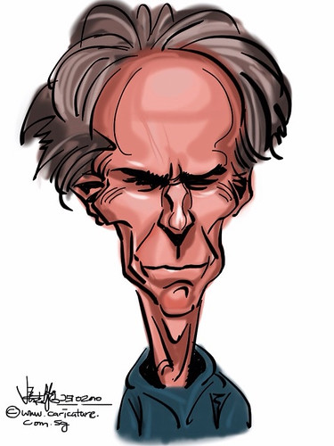 Clint Eastwood caricature on iPad Sketchbook Pro