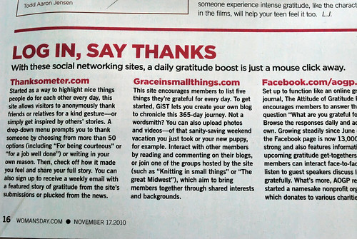 My Grace in Small Things social network was mentioned in Woman's Day magazine!
