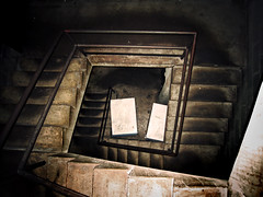 :109: (icolorinthelines) Tags: new york white stairs dark box dirty rochester staircase