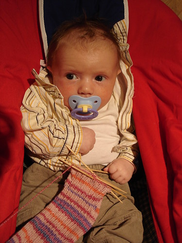 Gabe's first knitting!