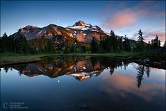 Jefferson Reflection (Zack Schnepf) Tags: blue trees sunset summer moon mountain lake reflection oregon forest mount jefferson supershot aplusphoto