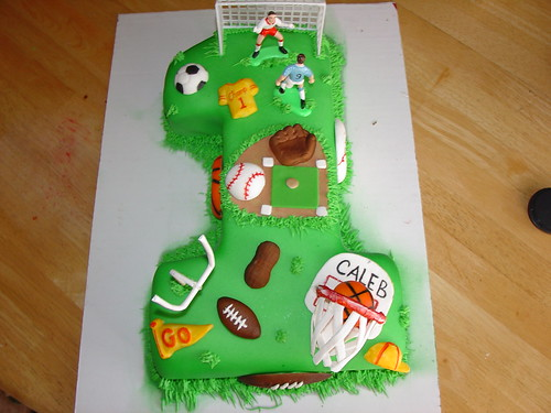 boys sports first birthday cake by Charley And The Cake Factory