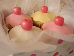 cherry cupcakes 124 (hello naomi) Tags: pink white yellow cherry cupcakes boxed fondant