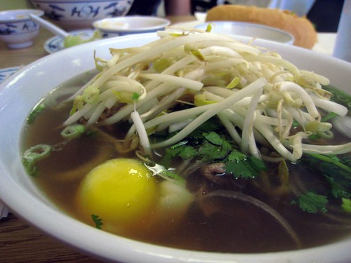 Husbear's regular, pho tai with an egg