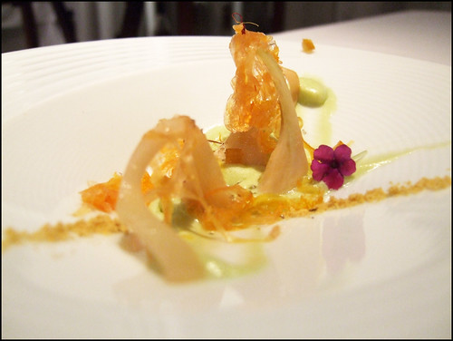 El Poblet (Denia, Spain) - Crunchy artichokes dressed on green olive oil with filaments of saffrony gelatin and wild oranges