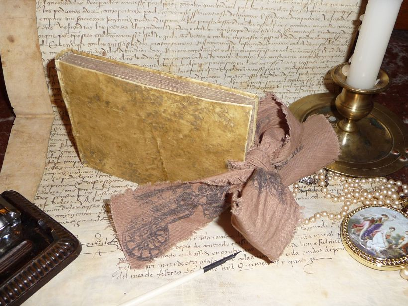 Marie Antoinette Vellum French Journal with brown ribbon completely handmande as a antique book