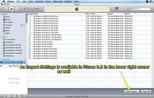 Import Settings in iTunes