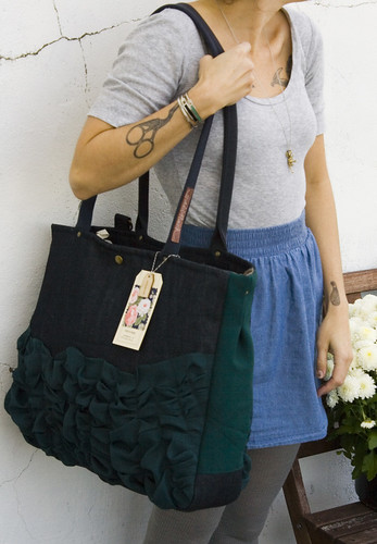 oversized tough ruffles tote in vintage dark denim & midnight blue
