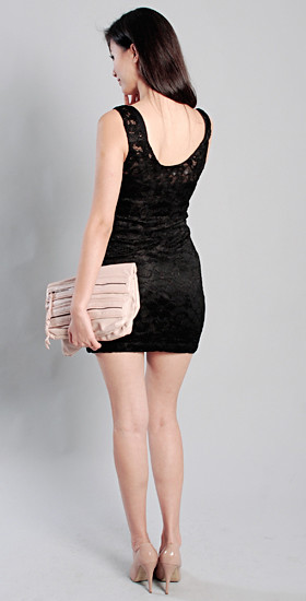 HERVELVETVASE. zipped front lace dress in BLACK