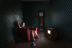 Welcome to the Dollhouse (Leah Johnston) Tags: mannequin girl america tv doll dolls leah sinister fear fineart smoking american silence midnight static haunting porcelain johnston dollhouse futility redchair coachpotatoe grandfatherclock ontogeny leahjohnston americandollhouse