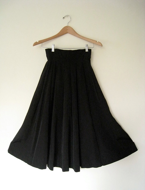 High Waist Bombshell Black Swing Skirt, Vintage 50's