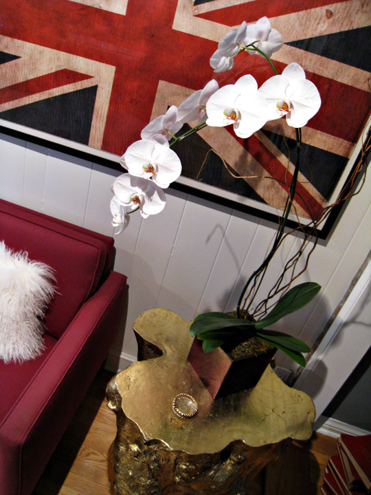 large white orchids+union jack flag print+gold stumps+game room decor+mongolian hair pillow