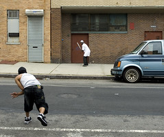 And the pitch... (threecee) Tags: street newyork game men architecture brooklyn ball play baseball africanamerican pitch prospectheights van deanstreet batter streetball dsc6669 tracycollinsphotography cityskipgroup brooklynian 594deanstreet bfbss