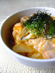 Chicken and egg on rice (Oyakodon) (bananagranola (busy)) Tags: food chicken cooking japan lunch japanese rice egg bowl homemade meal athome japanesefood donburi washoku ricebowl