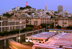 North Point and Telegraph Hill (A Sutanto) Tags: sf sanfrancisco california ca city longexposure blue urban usa building bus architecture night america skyscraper campus lights university pyramid hill muni coittower northbeach depot bluehour transamerica telegraph northpoint academyofarts aplusphoto