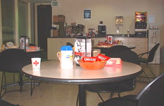 the snack area at the Red Cross