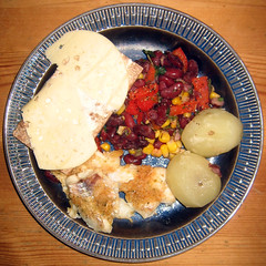 Grilled cod with kidney beans and potatoes - by Steffe