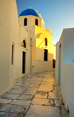 Santorini Brick Road (Michael Rugosi) Tags: road street trip blue windows sunset sky orange white brick church beautiful way greek golden alley scenery doors view portait scenic santorini greece passage anawesomeshot
