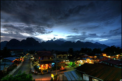 Vang Vieng by night (2) (Alessandro Vannucci) Tags: light clouds asia laos lao hdr vangvieng nigt 5xp iannacell