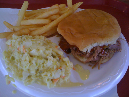 Barbecue sandwich plate from Captain John's