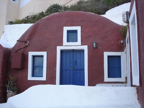 Red Caved-in House in Oia