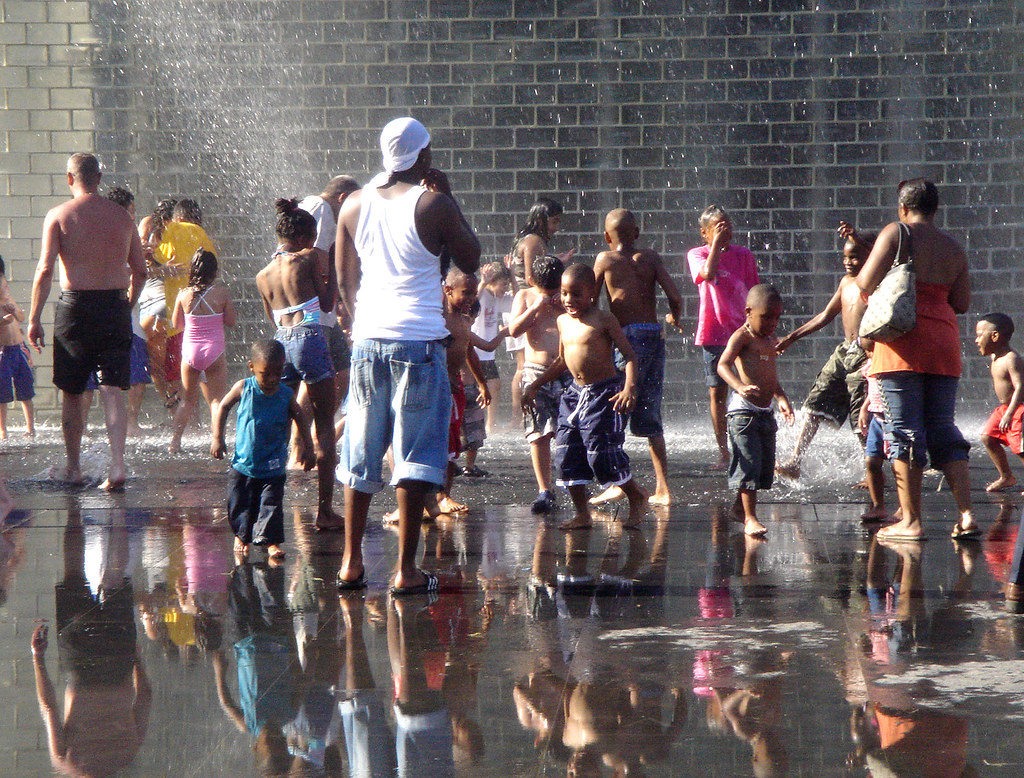 Cooling Off in Crown Fountain in Chicago