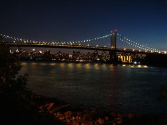 Manhattan from Queens (Super Happy Eats) Tags: city nyc newyorkcity bridge blue light newyork reflection green water night river dark lights bridges eastriver astoria astoriapark shoreboulevard