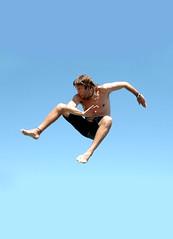 Jump! (Alexias) Tags: blue boy sky man azul jump kick fark karate cielo chico hombre salta patada outstandingshots aplusphoto