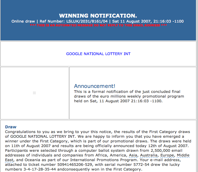 I Won the Google National Lottery  - Google Blogoscoped Forum