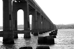 Tay Rail Bridge with Old Memories (Ross2085) Tags: new old uk bridge sea white black fall beach water train coast scotland nikon scenery view