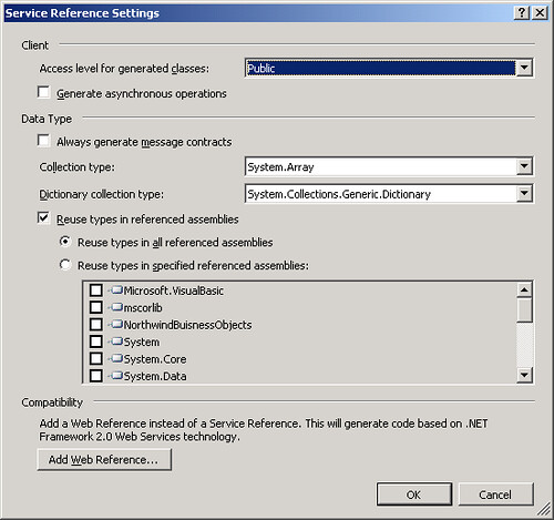 Service Reference Settings