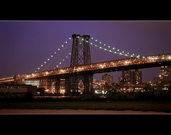 Williamsburg Bridge (Philip Effraim) Tags: nyc sky newyork water skyline landscape evening cityscape vignetting williamsburgbridge lightplay intensecolour tamron1750mmf28 stronglines