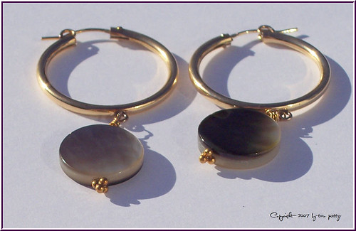 14k Gold-Filled Hoops with Black Mother-of-Pearl Discs by twopretty.com
