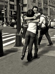 AT LAST! (joewig) Tags: street nyc urban blackandwhite bw couple reunited explored ricohgrd