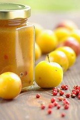 Yellow Plum Jam with Red Berries (2/2) (Thorsten (TK)) Tags: red food yellow breakfast germany pepper sweet german jam redpepper mirabelle redberries foodphotography preserving foodpresentation foodstyling yelloplums thorstenkraska