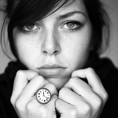 Time (Noukka Signe) Tags: white black clock girl contrast vintage hands watch jewelry ring explore signe accessory procrastinating explored noukka yesiknowihavebighandsokayd