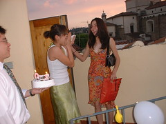 DSCF0167 (lilbuttz) Tags: sunset party italy cake florence helensbirthday helensapartment exactlocationunknown accentflorencespring2002