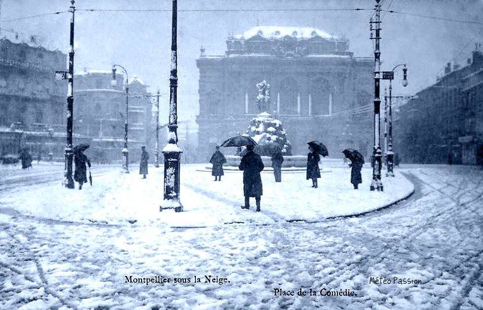 neige place de la Comédie à Montpellier en janvier 1914