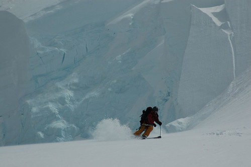 Skiing through the Angel Glacier