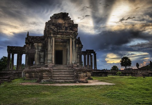 Angkor Library Sunset
