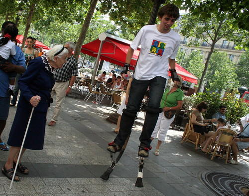 Grandmother staring at my stilts