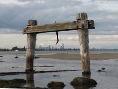 Melbourne view through the old jetty at Altona (debzhouse) Tags: beach melbourne altona oldjetty