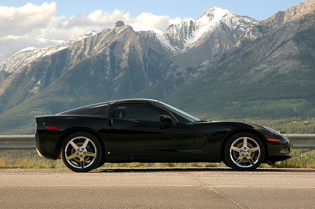 shadow sky black mountains reflection chevrolet car rockies chevy corvette canmore sportscar 2007 c7 gmfyi