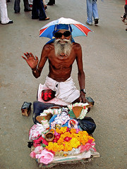That's India (Luca D'ambra photographer) Tags: flowers blue portrait people india man colour senior yellow crazy holy elderly aged pushkar incredible citizen coolest amputee offerings blueribbonwinner diamondclassphotographer flickrdiamond