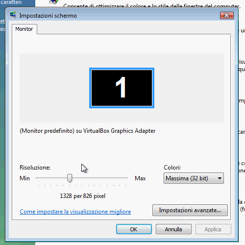 Fig. 9 - installazione VirtualBox Guest Addition in Windows Vista -  nuove risoluzioni scheda video